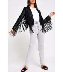 river island womens black faux leather fringe crop jacket