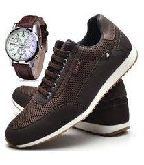 sapatênis sapato casual com cadarço juilli com relógio 1100m marrom.