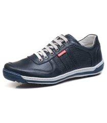 sapatênis tênis casual  em couro ranster preto