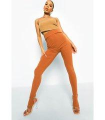 geribbelde gebreide leggings met voetbandjes, choc brown