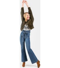 darci high rise tie front jeans - medium wash
