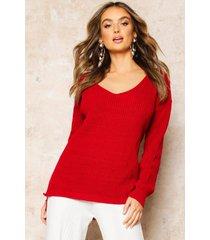 oversized v neck sweater, red