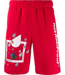 styland printed jersey shorts - red