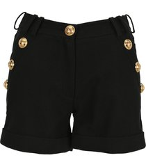 balmain black cotton low-rise shorts with gold-tone buttons