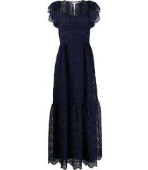 alberta ferretti lace panel tiered dress - blue