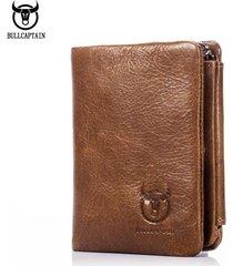 vintage leather trifold wallet men zipper hasp wallet fashion male short wallets