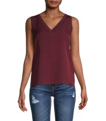theory women's v-neck silk-blend top - bordeaux - size s