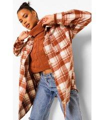 korte grof gebreide baggy trui, rust