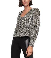 bcbgmaxazria printed blouson-sleeve blouse