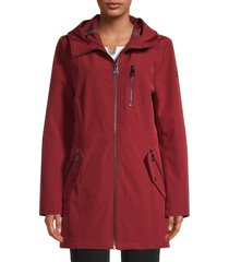 calvin klein women's softshell hooded jacket - wild red - size m