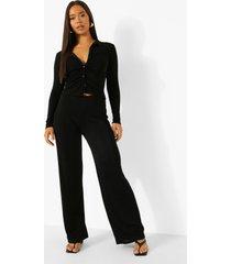strakke blouse met textuur en wide leg broek, black