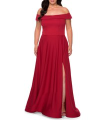 plus size women's la femme off the shoulder foldover neckline gown, size 22w - red