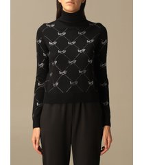 be blumarine sweater all-over rhinestone logo turtleneck