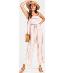 errin striped shoulder tie jumpsuit - multi