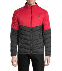 spyder men's logo colorblock quilted jacket - red - size s