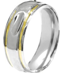 aliança prata mil abaulada cava de prata c/ filete de ouro prata