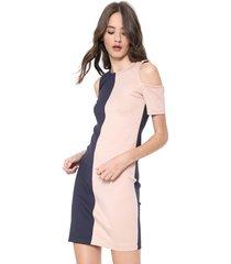 vestido calvin klein jeans curto off shoulder azul-marinho/rosa