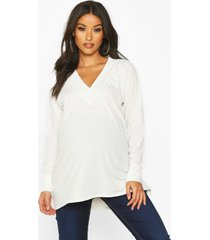maternity rib knit tunic sweater, cream