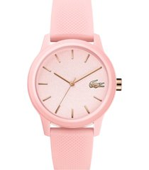 lacoste women's 12.12 pink rubber strap watch 36mm