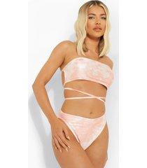 tie dye strapless bikini top met strik, pink