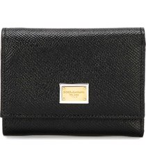 dolce & gabbana black leather bifold wallet with logo plate