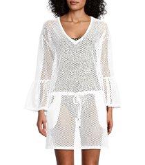 calvin klein women's crochet tunic coverup - soft white - size l/xl