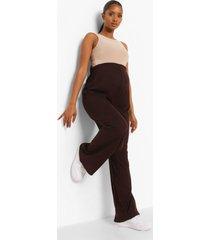 zwangerschap geribbelde wide leg over the bump broek, chocolate