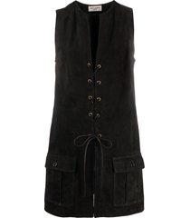 saint laurent lace-up detail vest - black