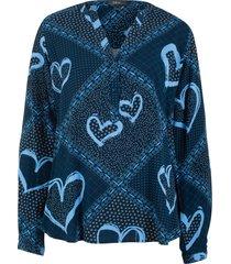 tunica con cuori a maniche lunghe (blu) - bpc bonprix collection