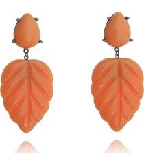 brinco orange folha tropical banhado a ródio negro