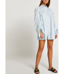 river island womens blue long rouched sleeve embroidery romper