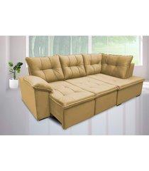 sofá retrátil cama com chaise napoles 2,48 x 1,50m suede amassado castor - cama inbox