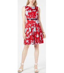 tommy hilfiger belted floral-print dress, created for macy's