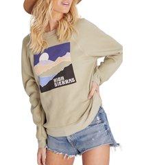 women's wildfox sommers high sierras cotton blend sweatshirt, size medium - green