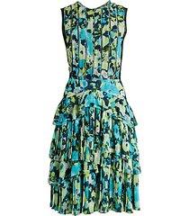 print tiered ruffle dress
