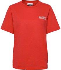 thin software jersey t-shirts & tops short-sleeved röd ganni