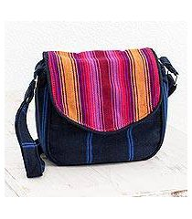 cotton messenger bag, 'summer garden' (guatemala)