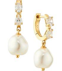 nadri boheme pearl hoop drop earrings in gold at nordstrom