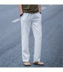 men's linen loose pants casual long beach sports drawstring yoga slacks tro