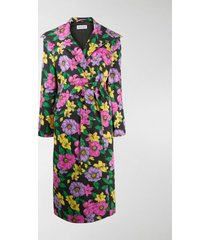 balenciaga floral print trench coat