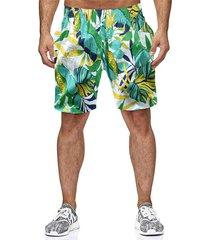 shorts de secado rápido estampados con hojas de palmera tropical hawaii para hombre