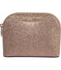 michael kors rose gold glitter leather medium cosmetic case