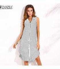 zanzea vestido de otoño de nueva llegada vestido de camisa con estampado de rayas para mujer vestido de solapa sin mangas con dobladillo dividido casual tops largos blanco -blanco