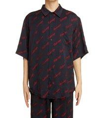 men's balencia pajama short sleeve button-up shirt, size 38 - black