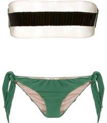 adriana degreas x cult gaia strapless bikini set - green