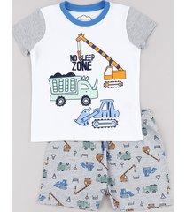 pijama infantil carrinhos manga curta off white
