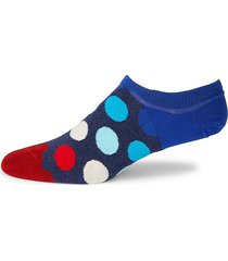 happy socks men's big polka dot no-show socks - navy red - size 10-13
