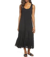women's caslon mixed media drop waist maxi dress, size medium - black
