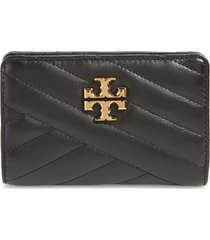 women's tory burch medium kira chevron quilted leather wallet - black