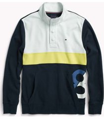 tommy hilfiger men's adaptive mockneck stripe sweatshirt bright white /multi - m